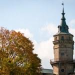 Vintage brick tower above autumnal park — Stock Photo
