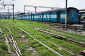 Train of the Indian railway on a station — Stock Photo