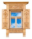 Ventana de madera decorada — Foto de Stock