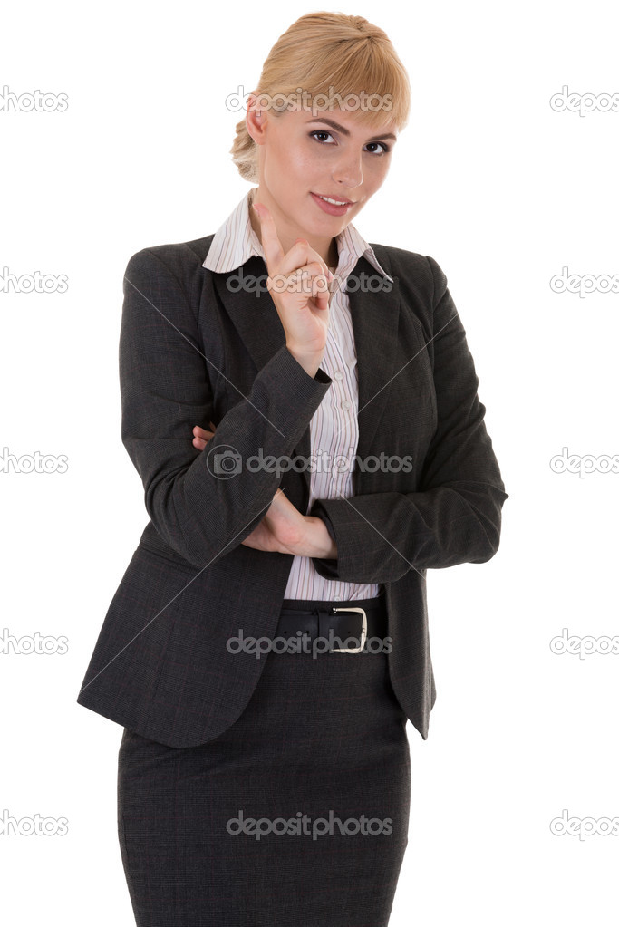 Businesswoman with tutorial gesture isolated on white background  Stock Photo #11916873