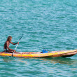 Thai fisher rows in small boat — Stock Photo
