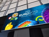 Railway Station and Euro 2012 Banner in Warsaw, Poland — Stock Photo