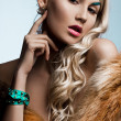 Beautiful fashionable woman with art visage — Stok fotoğraf