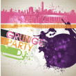Grunge banner with an inky dribble strip with copy space. Abstract background for party — Stock Vector #11125798