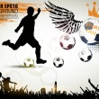 Cтоковый вектор: Soccer Action Player on beautiful Abstract Background. Original Vector illustration sports series. Classical football poster.