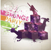 Grunge banner with an inky dribble strip with copy space. Abstract background for party — Stock Vector