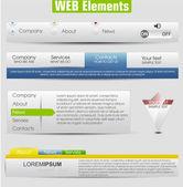 Web design elementos do modelo com os ícones ajustados: barra de menu de navegação — Vetorial Stock