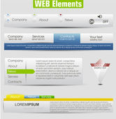 Web design template elements with icons set: Navigation menu bar — Cтоковый вектор