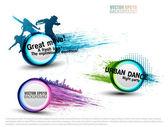 Grunge renk konuşma balonları parti için ayarlayın. vektör — Stok Vektör