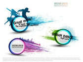 Set grunge color Speech Bubbles for party. vector — Vettoriale Stock