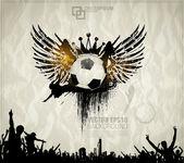 Fondo de fútbol con las bolas, alas — Vector de stock