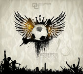 Football background with the balls, wings — ストックベクタ