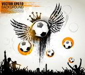 Futbolista de acción sobre fondo abstracto hermoso. serie original de deportes ilustración vectorial. cartel de fútbol clásico. — Vector de stock