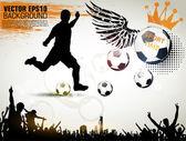 Giocatore di calcio azione sul bellissimo sfondo astratto. illustrazione vettoriale originale sport serie. locandina calcio classica. — Vettoriale Stock