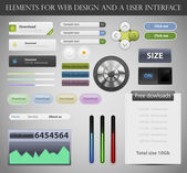 Web Design Elements and UI User Interface Vector — Cтоковый вектор