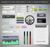 Web tasarım öğeleri ve ui kullanıcı arabirimi vektör — Stok Vektör