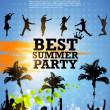 图库矢量图片: Colour grunge poster for summer party