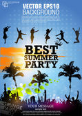 цвет гранж-постер для партии летом — Cтоковый вектор