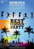 夏日派对肤色 grunge 海报 — 图库矢量图片
