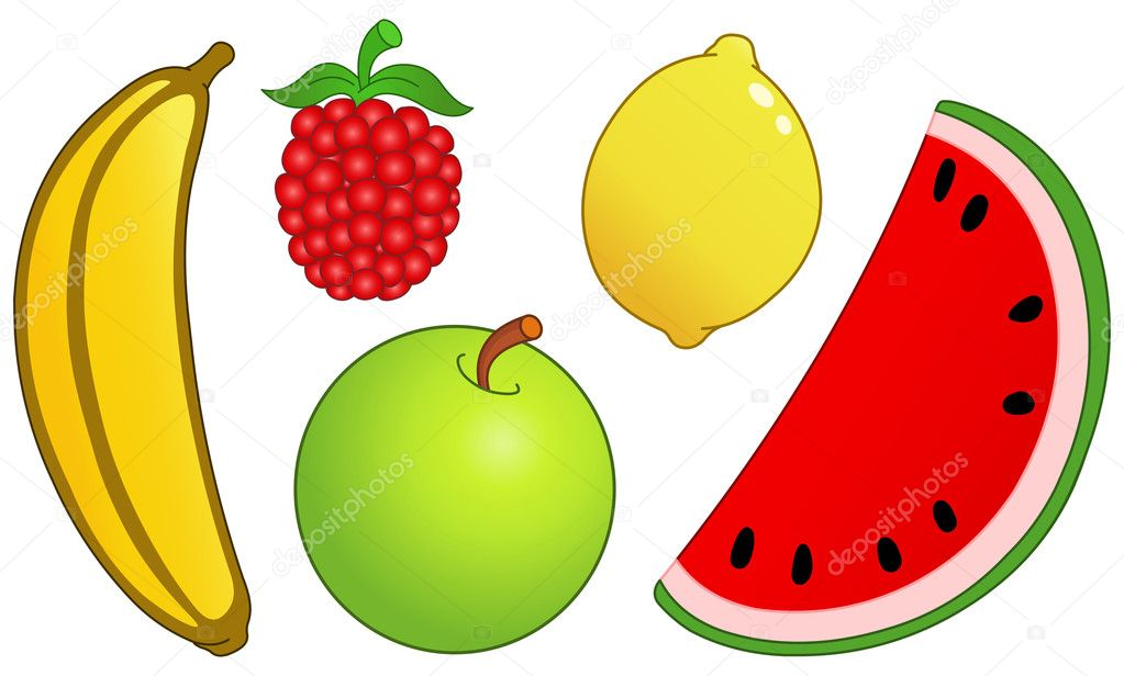 Fruit set: banana, raspberry, lemon, watermelon slice and apple   #10749687