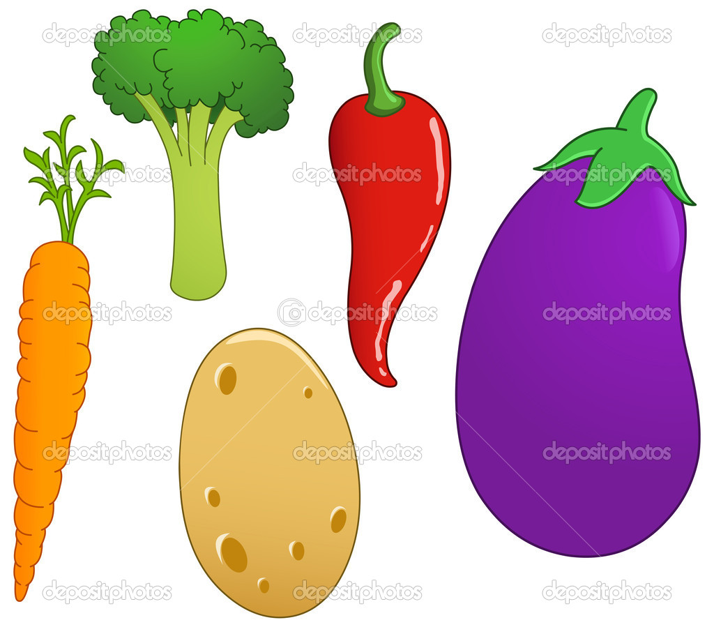 Vegetable set: carrot, broccoli, chili pepper, eggplant and potato — Stock Vector #10749703