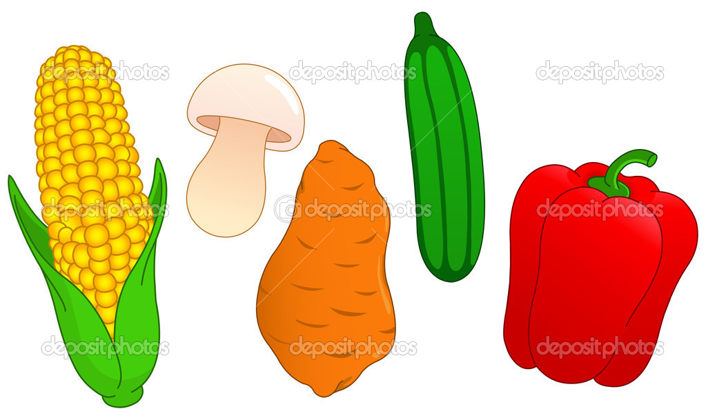 Vegetable set: corn, mushroom, sweet potato, cucumber and pepper — Stock Vector #10749719