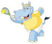 Tennis hippo — Stock Vector