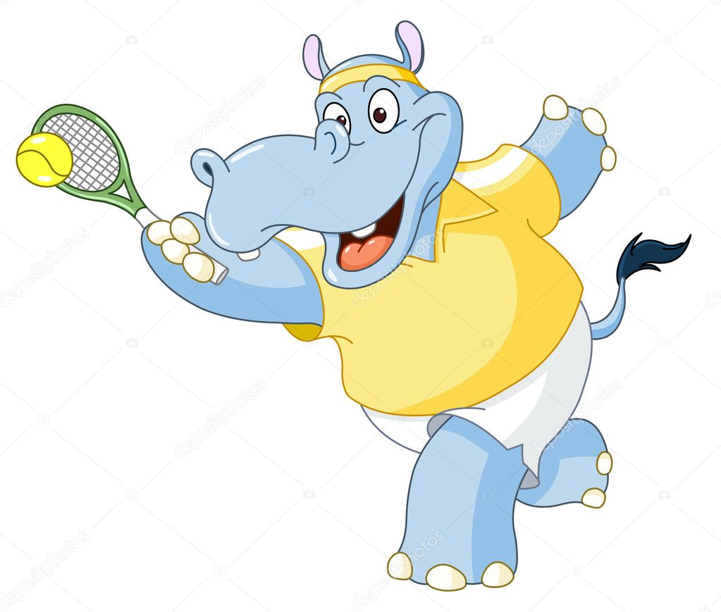 Tennis hippo — Stock Vector #11538338