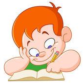 勉強している少年 — ストックベクタ
