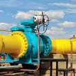 Ball valve on a gas pipeline. - Stock Photo