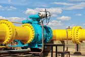 Ball valve on a gas pipeline. — Stock Photo