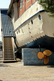 Unusual accomodation, a houseboat — Stock Photo