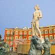 Place Massena in Nice with the Fontaine du Soleil and the Apollo statue - Stock Photo