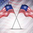 Vettoriale Stock : Two American Flag waving on seamless flag background for 4 July