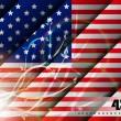 4 Temmuz Bağımsızlık günü ve diğer günler için soyut parlak çiçek etkisi ile Amerikan bayrağı arka plan. EPS 10 — Stok Vektör