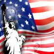 Statue of liberty on American flag  background for 4th July Amer - Stock Vector