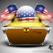3D glossy globe with American flags and treasure chest on grey isolated background. - Stock Vector
