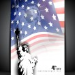 Stock Vector: Statue of liberty on American flag background for 4th July Amer