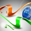 Indian Flag theme with 3D blue ashoka wheel and shiny saffron and green wave — Imagen vectorial
