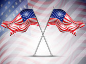 Two American Flag waving on seamless flag background for 4 July — Cтоковый вектор