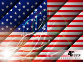 American Flag background with abstract shiny floral effect for 4 July Independence Day and other occasions. EPS 10. — Stok Vektör