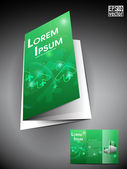 Professional business three fold flyer template, corporate brochure or cover design in green color with 3d circle and space for your text, — Stock Vector