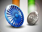 Hindistan bayrağı tema 3d mavi ve gri ashoka tekerlek ve parlak safran ve yeşil dalga — Stok Vektör