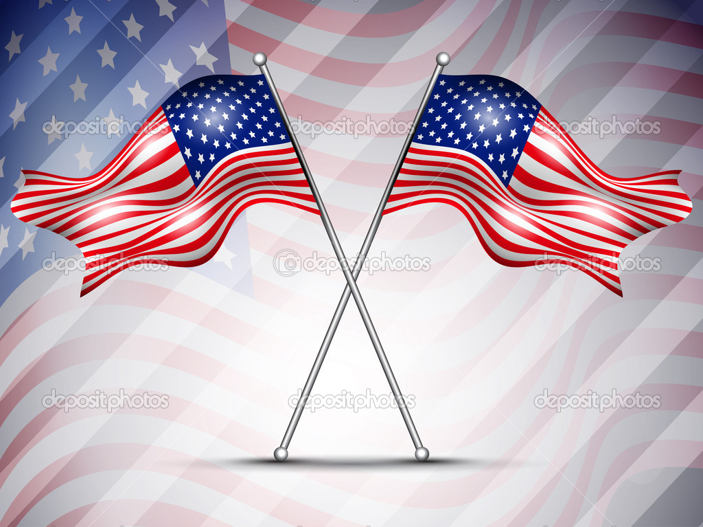 Two American Flag Waving On Seamless Flag Background For 4