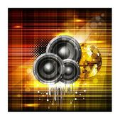 Beautiful shiny background with music speakers and ornament. vec — Stock Vector