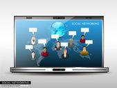 Red social, la comunicación en las redes mundiales mostrando ingenio — Vector de stock