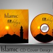 Islamic CD cover design with Mosque or Masjid silhouette in yellow color and floral patterns. EPS 10. Vector illustration. — Stock Vector