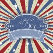 Vector illustration of ribbon or badge for 4 July American Independence Day and other events on rays background. EPS 10. — Stock vektor