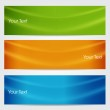 Vector illustration of banners or website headers with green, orenge and blue color wave. EPS 10 format — Stock Vector