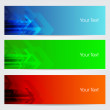 Vector illustration of banners or website headers with green, orenge and blue color arrow. EPS 10 format — Stock Vector